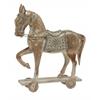 "Benzara Silver/White Wood Metal Horse 18""W, 20""H"