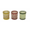 "Glass Mosaic Votive Set Of 3 3""W, 4""H"