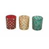 "Benzara Glass Mosaic Votive Set Of 3 3""W, 4""H"