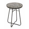"Metal Glass Round Black Side Table 16""W, 23""H"