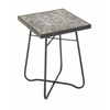 "Metal Glass Square Black Side Table 16""W, 23""H"