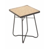 """Metal Glass Square Brown Side Table 16""""W, 23""""H"""