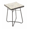 "Robust Metal Glass Square Floor Side Table 16""W, 23""H"