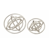 "Set Of 2 Trendy Aluminum Ring Patterned Orb Nickel 10"", 8""D"