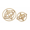 "Striking Set Of 2 Golden Orb Rings Decor10"", 8""D"