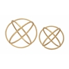 "Beautiful And Artistic Set Of 2 Golden Orb Rings Decor 10"", 8""D"