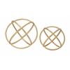 "Benzara Beautiful And Artistic Set Of 2 Golden Orb Rings Decor 10"", 8""D"