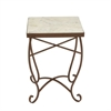 Appealing Metal Marble Square Side Table, White & Brown