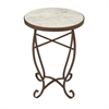 Striking Metal Marble Round Side Table, White & Brown