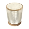Stunning Aluminum Marble Wood Stool, Silver, White