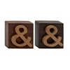 Benzara Distinct And Different Wood Block Sign 2 Assorted
