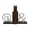 "Benzara Astounding Wood Aluminum Bookend Pair 6""W, 7""H"