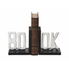 "Benzara Wonderful Wood Aluminum Bookend Pair 6""W, 7""H"