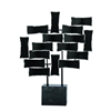 Trendy Metal Wood Sculpture, Black