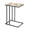 Stunning Metal Wood Accent Table, Natural Wood & White