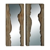 Excellent Wood Mirror Wall 2 Assorted, Natural Wood & White