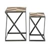 Adorable Metal Wood Table, Shades Of Brown, Set Of Two