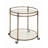 Benzara Simply Artistic Metal Glass Tea Cart