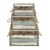 Benzara Antique Style Wood Rope Trunk Set Of 3
