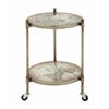 Benzara Appealing Metal Glass Accent Table