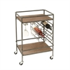 Stylish Metal Wood Wine Rack Cart, Gray & Natural Wood