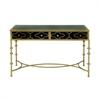 Useful Metal Glass Console Table, Golden & Black