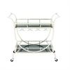 Elegant Metal Glass Cart, Chrome Silver