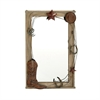Chic Wood Metal Wall Mirror, Shades Of Brown