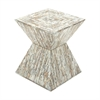 Stunning Wood Shell Inlay Accent Table, Natural Wood