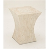 Amazing Wood Shell Inlay Stool, Cream