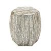 Lovely Wood Shell Inlay Stool, Natural Wood