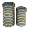Cylindrical Shaped Metal Galvanized Planter Set Of Two With Side Handles