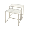 Beautiful Stainless Steel Marble Nesting Table, White, Set Of 2
