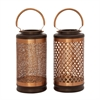 Beautiful Metal Wood Copper Lantern 2 Assorted, Coper, Capucino