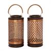 Beautiful Metal Wood Copper Lantern 2 Assorted, Coper, Capucino
