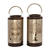 Alluring Metal Wood Silver Lantern Assorted 2, Antique Silver