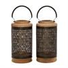 Exceptional Metal Wood Black Lantern Assorted 2, Wooden and Black