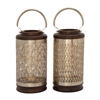 Amazing Metal Wood Silver Lantern Assorted 2, Wooden and Black