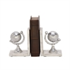 Enthralling Aluminum Marble Bookend Pair, Chrome Silver