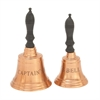 Cute Metal Wood Brown Captain Bell, Copper and Brown, Set Of 2