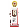 Benzara Wood Gas Pump Clock Red And White