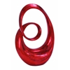 Benzara Rounded Corners Polystone Sculpture In Glossy Red And Black