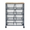"Metal Wood Storage Mobile Cart With 41"" H, 29"
