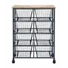 "Benzara Metal Wood Storage Mobile Cart With 41"" H, 29"