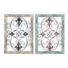Benzara Wood Metal Wall Panel With Intricate Design - Set Of 2