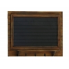 Benzara Pine Wood Blackboard Wall Shelf With Three Metal Hooks