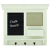 Benzara Wooden Chalkboard Wall Shelf With Three Metal Hooks