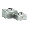 Benzara Sleek And Attractive Wooden Case Set Of Two With Leather Handles