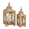 Benzara Beautiful Styled Wood Glass Lantern