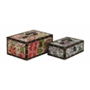 Benzara Fantastic Floral Patterned Wood Vinyl Box